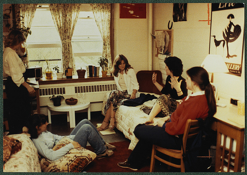 [Campus life: Students in conversation at Boston College dormitory]