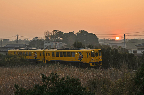 Shimabara railway with sun rise
